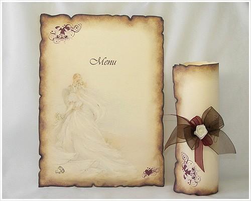 Carte d'invitation mariage parchemin